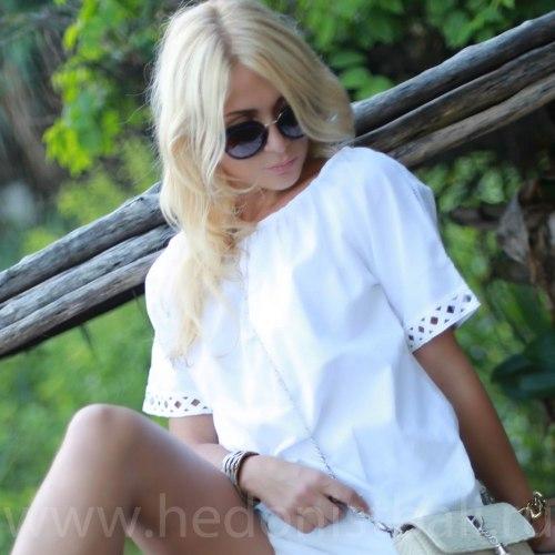 Блузка с вышитыми рукавами MAGNOLIA белая размер S/M
