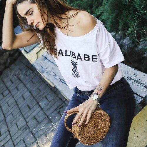 Футболка с принтом BALIBABE белая L