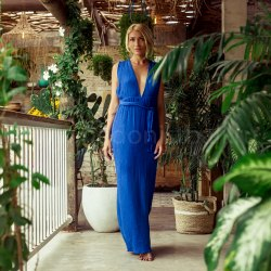 Платье с открытой спиной LILY ярко-синее длинное
