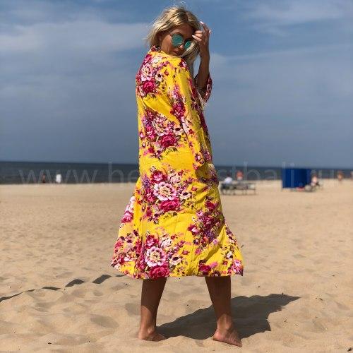Кимоно пляжное AKIRA разноцветное желтое