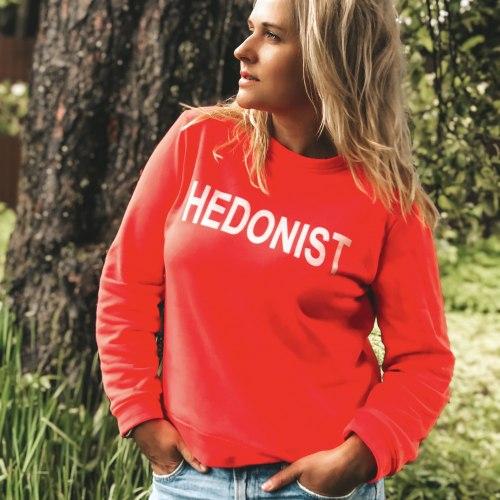 Толстовка с принтом HEDONIST красная размер S/M
