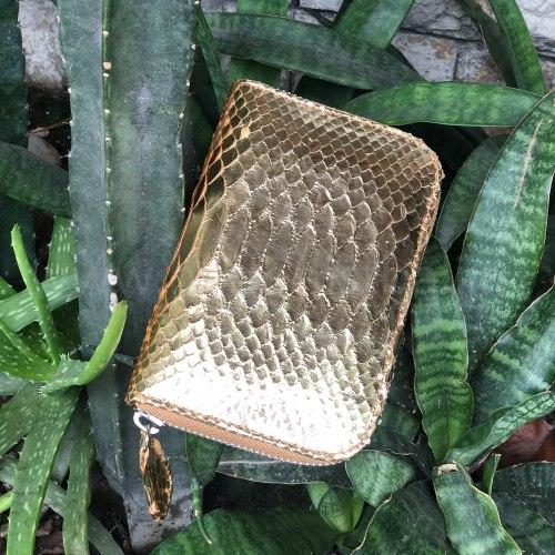 Кошелек из натуральной кожи питона золотой размер XS