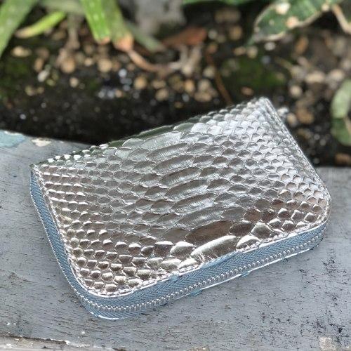 Кошелек из натуральной кожи питона серебряный размер XS
