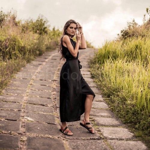 Платье с поясом AGLEA черное