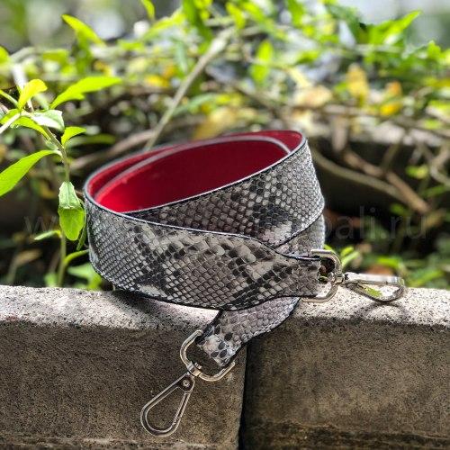 Ремень широкий в естественном цвете без покраски с красной подкладкой