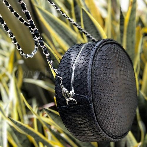 Круглая сумка SOL из натуральной кожи питона черная