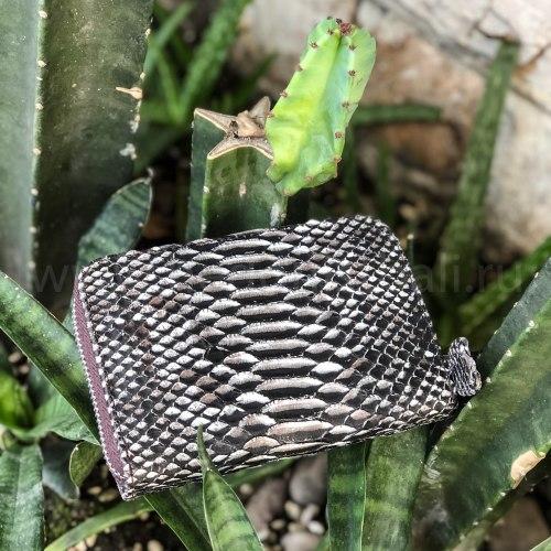 Кошелек из натуральной кожи питона черно-белый размер XS