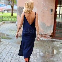 Платье на бретелях WENDY long синее S/M