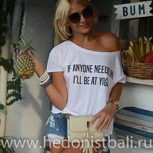 Футболка с принтом IF ANYONE NEEDS ME I'LL BE AT YOGA белая размер L