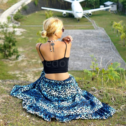 OLIVIA юбка на запах с леопардовым принтом синяя