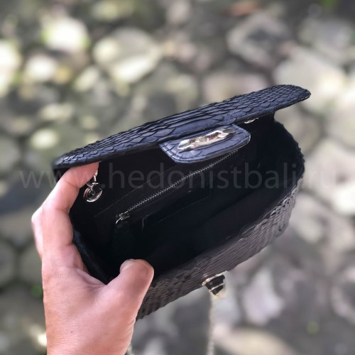 Сумка crossbody из натуральной кожи питона черная MINI