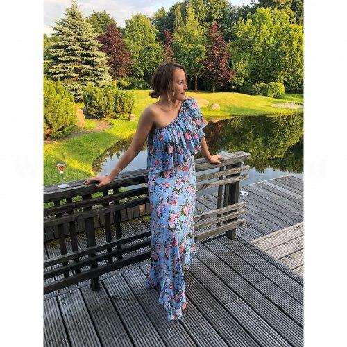 Платье FRIDA голубое с цветочным принтом