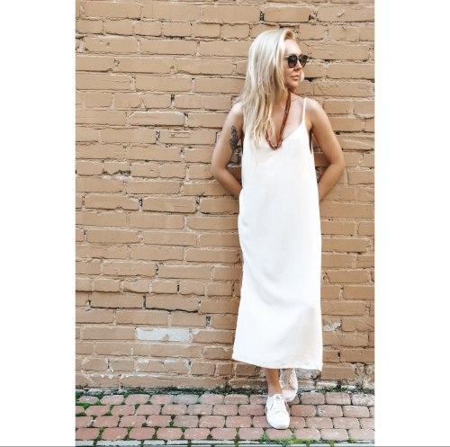 Платье на бретелях WENDY long кремовое S/M