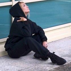 Спортивный костюм DON'T FOLOW ME черный утепленный