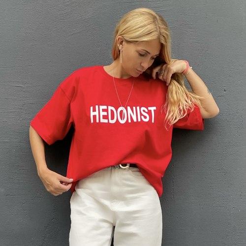 Футболка оверсайз с принтом HEDONIST красная