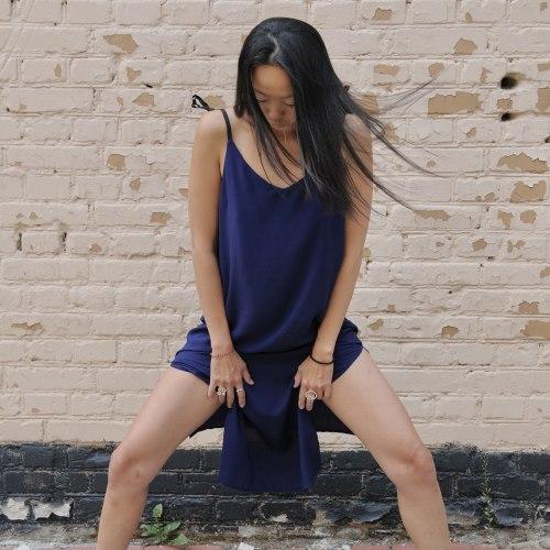 Платье на лентах WENDY long синее S/M