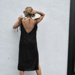 Платье на лентах WENDY long черное S/M