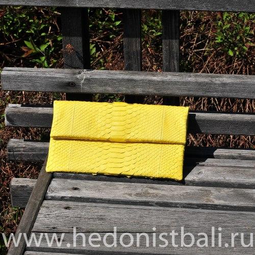 Клатч из натуральной кожи питона желтый размер S