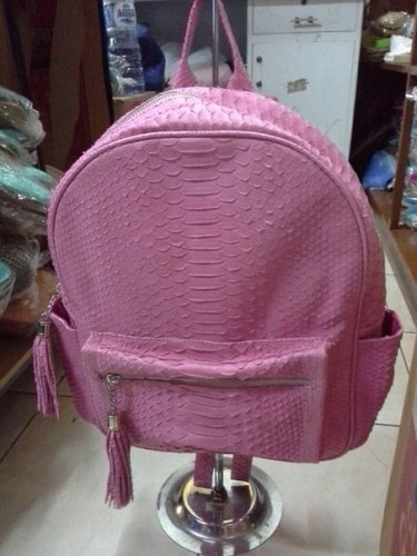 VANESSA рюкзак из натуральной кожи питона розовый