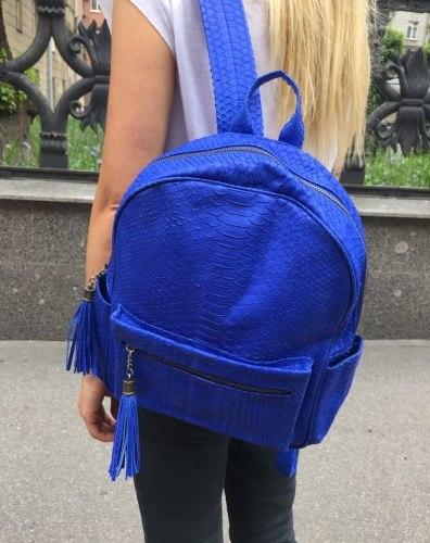 VANESSA рюкзак из натуральной кожи питона ярко-синий