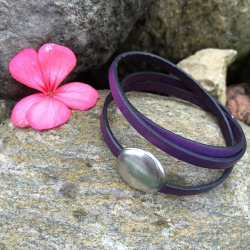 Браслет из натуральной кожи тройной фиолетовый