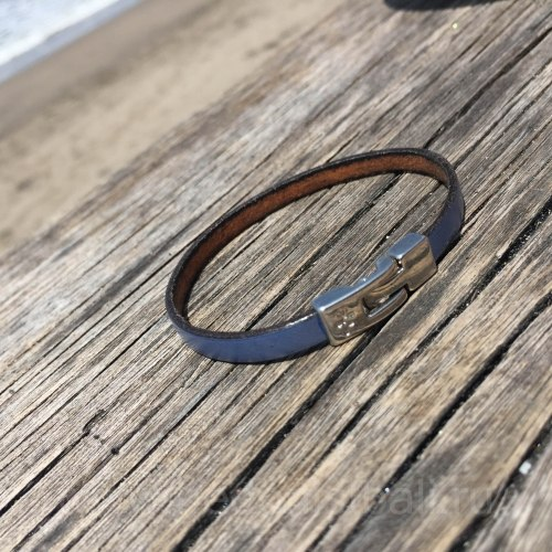Браслет из натуральной кожи тонкий синий металлик