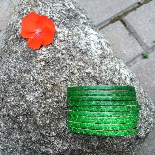 Браслет из натуральной кожи змеи зеленый