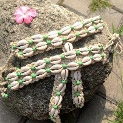 Браслеты вязаные на ногу с ракушками зеленые