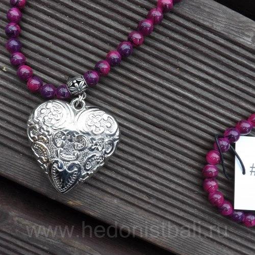 Бусы с сердцем фиолетовые