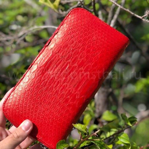 Кошелек из натуральной кожи питона красный размер М