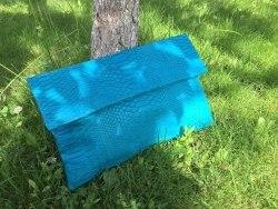 Клатч из натуральной кожи питона бирюзовый размер XL