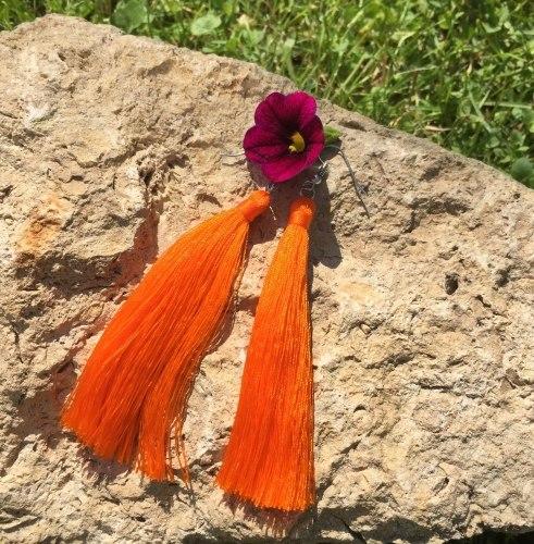 Серьги-кисточки оранжевые