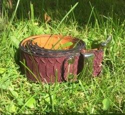 Ремень из натуральной кожи питона винно-коричневый