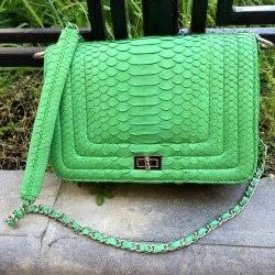 Сумка crossbody из кожи питона LE BOY светло-зеленого цвета
