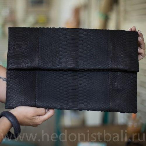 Клатч из натуральной кожи питона черный размер XL