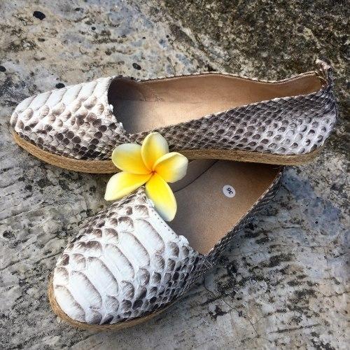 Эспадрильи из натуральной кожи питона натуральная расцветка, без покраски
