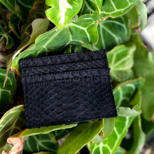 Визитница из натуральной кожи питона черная