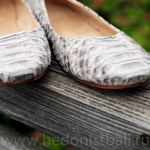 Балетки из натуральной кожи питона натуральный цвет без покраски
