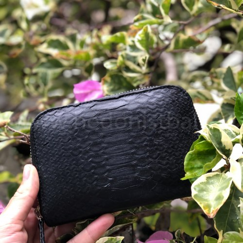Кошелек из натуральной кожи питона черный размер XS