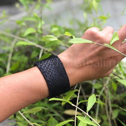 Браслет из натуральной кожи питона широкий черный