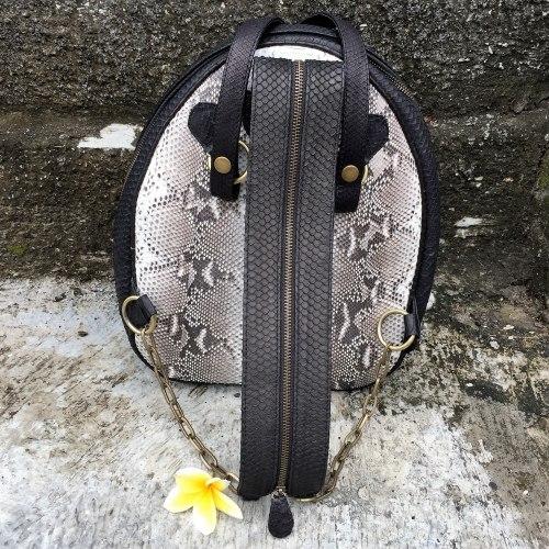 Рюкзак из натуральной кожи питона черно-белый