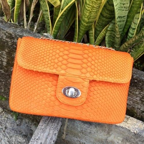 Сумка crossbody из кожи питона MAXI оранжевая