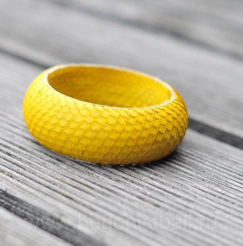 Браслет из натуральной кожи питона круглый желтый