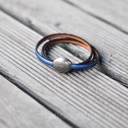 Браслет из натуральной кожи тройной сине-серебристый