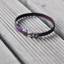 Браслет из натуральной кожи фиолетовый тонкий