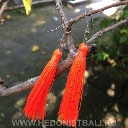 Серьги-кисточки ярко оранжевого цвета