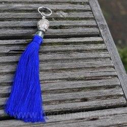 Брелок с головой Будды и бусиной ярко-синий
