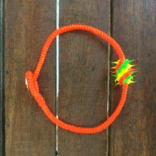 Браслет с силиконовой вставкой оранжевый