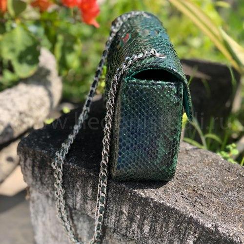 Сумка crossbody из натуральной кожи питона MIDI изумрудно-зеленая