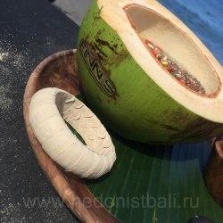 Браслет из натуральной кожи питона круглый молочного цвета 2 см